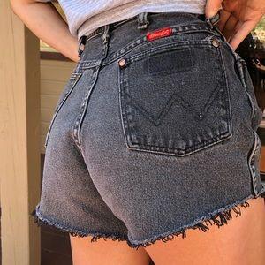 VINTAGE grey/black Wrangler cutoff shorts